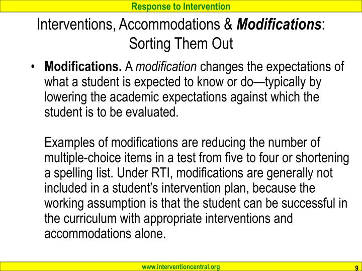 Interventions, Accommodations &