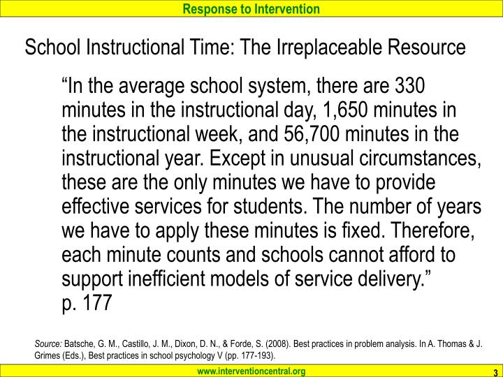 School instructional time the irreplaceable resource