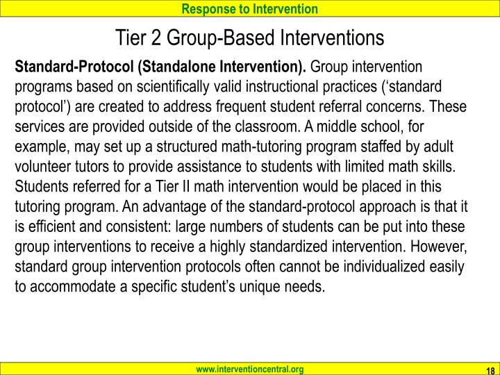 Tier 2 Group-Based Interventions