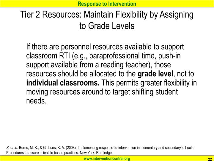 Tier 2 Resources: Maintain Flexibility by Assigning to Grade Levels