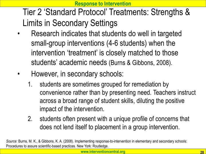 Tier 2 'Standard Protocol' Treatments: Strengths & Limits in Secondary Settings