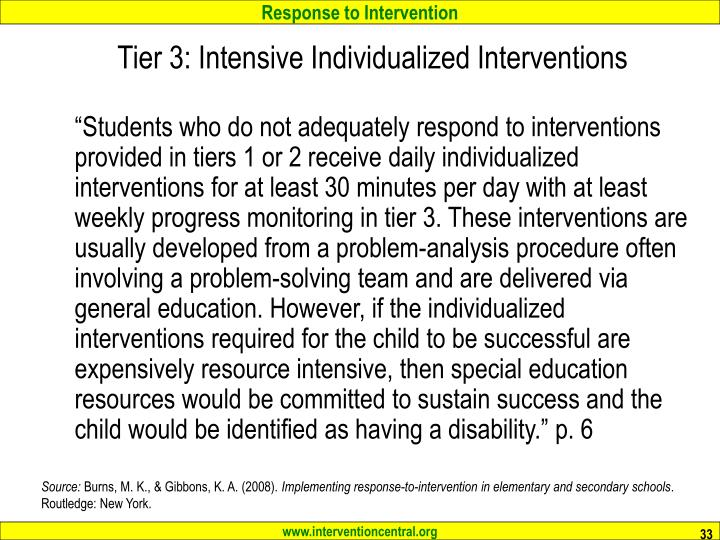 Tier 3: Intensive Individualized Interventions