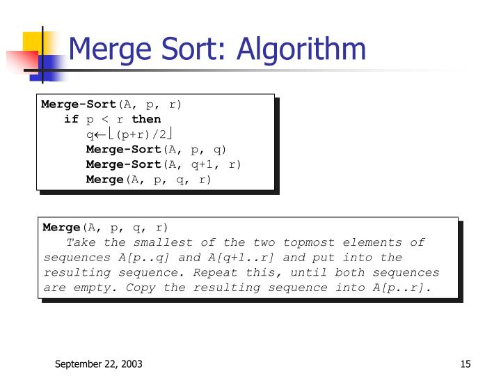 Merge Sort: Algorithm