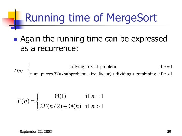 Running time of MergeSort