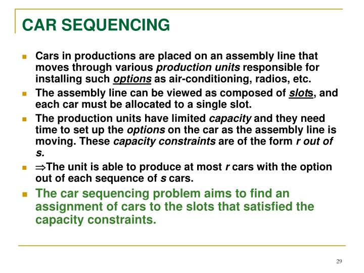 CAR SEQUENCING