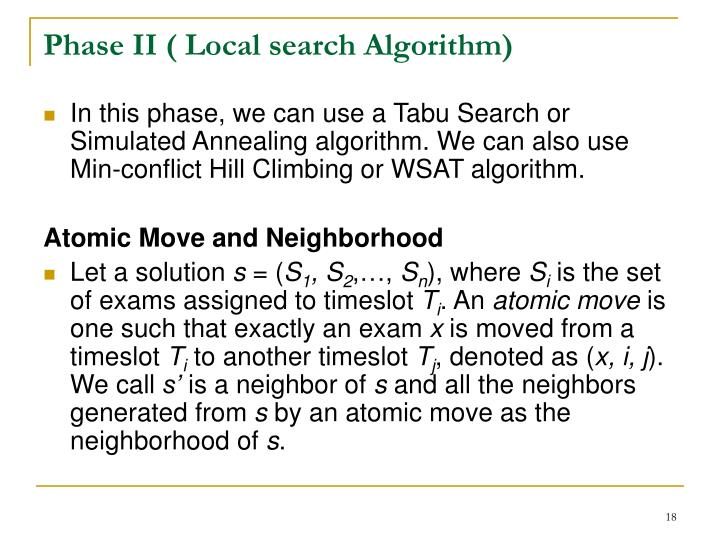 Phase II ( Local search Algorithm)