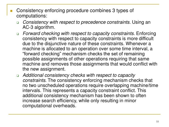 Consistency enforcing procedure combines 3 types of computations: