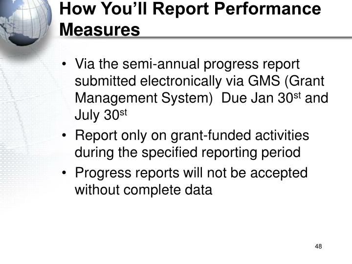 How You'll Report Performance Measures