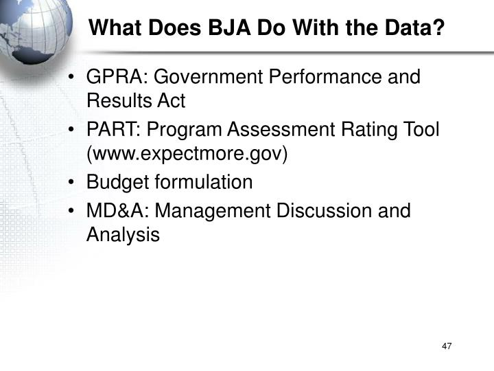 What Does BJA Do With the Data?