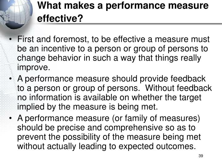 What makes a performance measure effective?