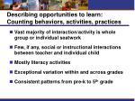 describing opportunities to learn counting behaviors activities practices