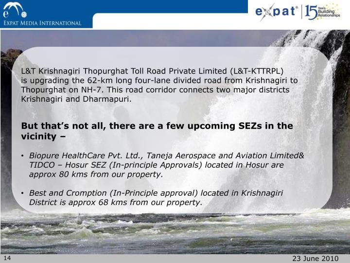L&T Krishnagiri Thopurghat Toll Road Private Limited (L&T-KTTRPL)