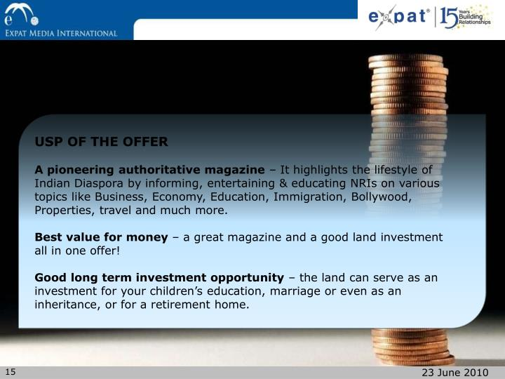 USP OF THE OFFER
