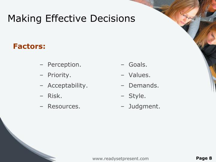 Making Effective Decisions