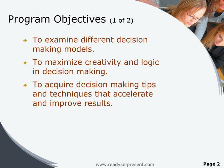 Program objectives 1 of 2