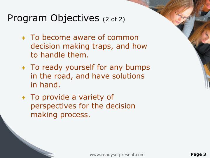 Program objectives 2 of 2