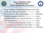 legacy item business rules shared expectations depot community recommendations