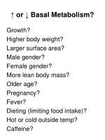 or basal metabolism