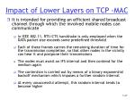 impact of lower layers on tcp mac