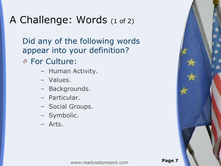 A Challenge: Words