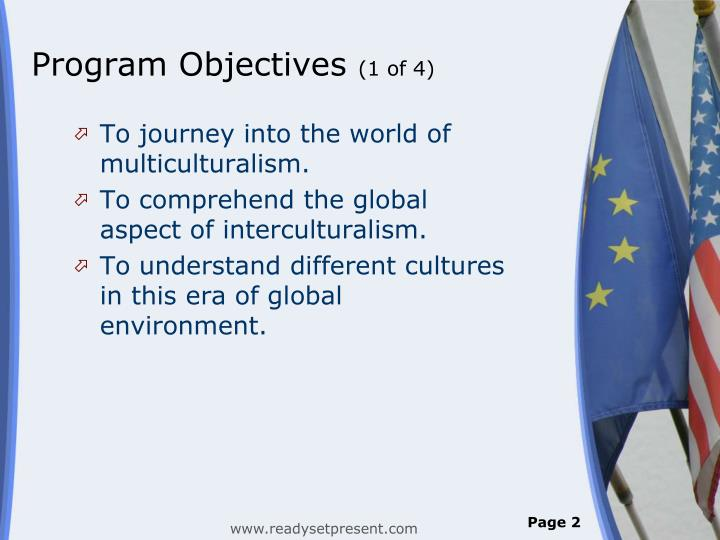 Program objectives 1 of 4