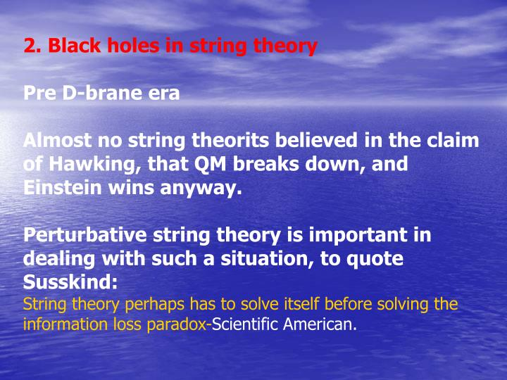 2. Black holes in string theory