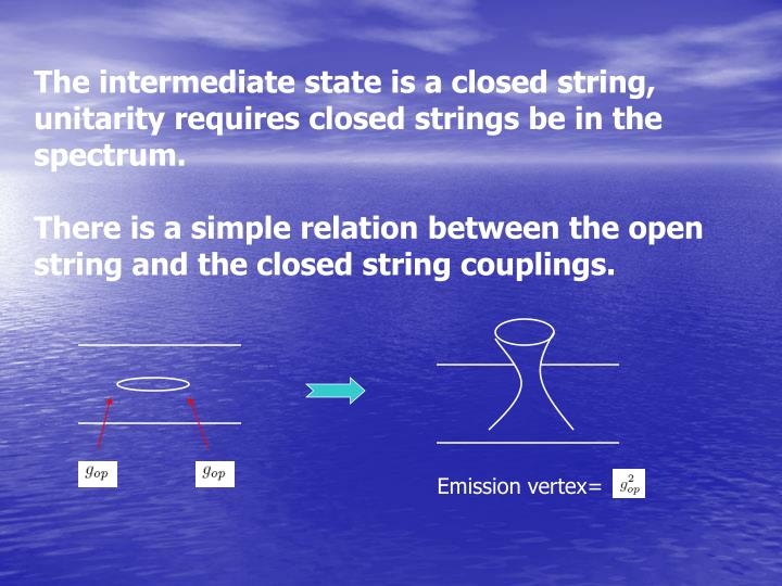 The intermediate state is a closed string,