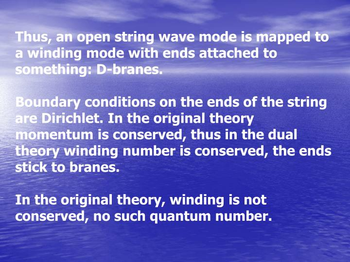 Thus, an open string wave mode is mapped to
