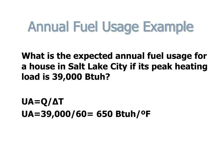 Annual Fuel Usage Example