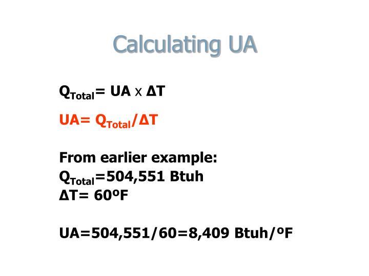 Calculating UA