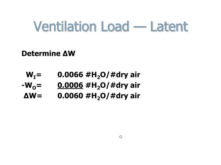 Ventilation Load — Latent