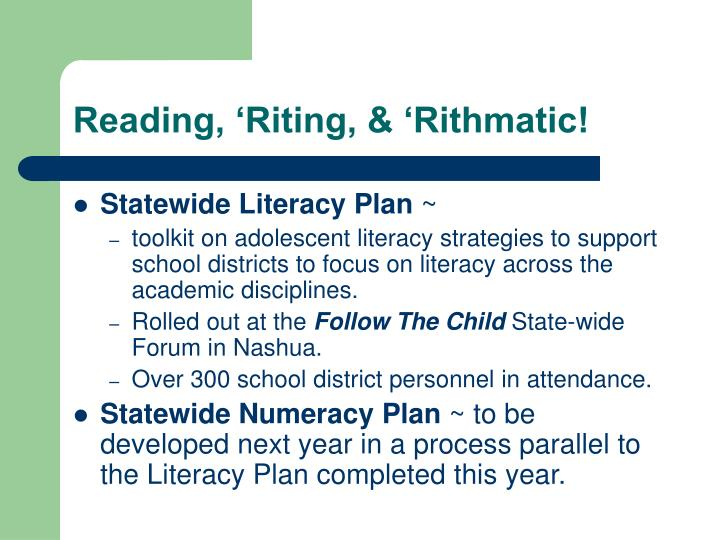 Reading, 'Riting, & 'Rithmatic!
