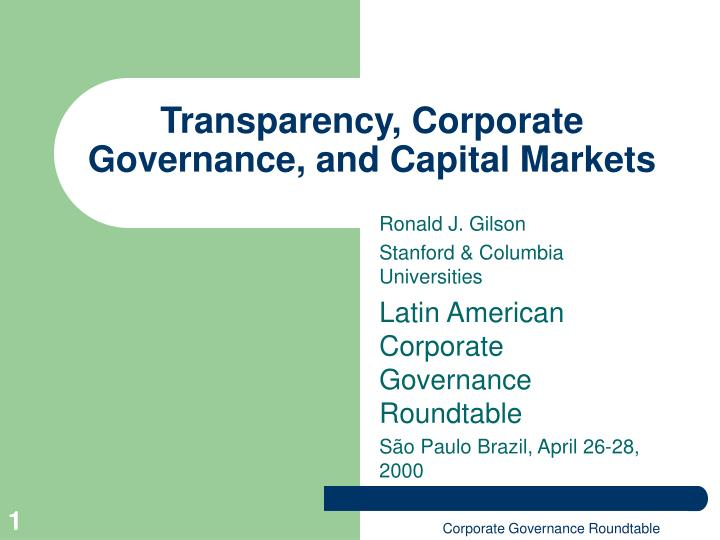 transparency corporate governance and capital markets n.