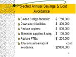 projected annual savings cost avoidance