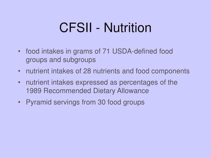 CFSII - Nutrition