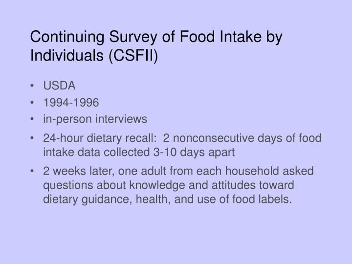 Continuing Survey of Food Intake by Individuals (CSFII)