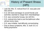 history of present illness hpi