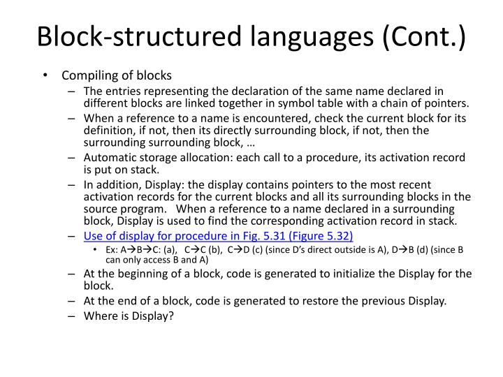 Block-structured languages (Cont.)