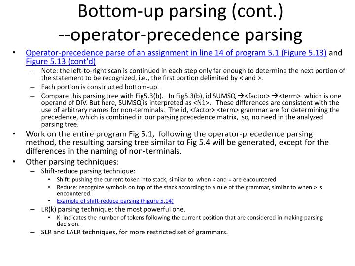 Bottom-up parsing (cont.)