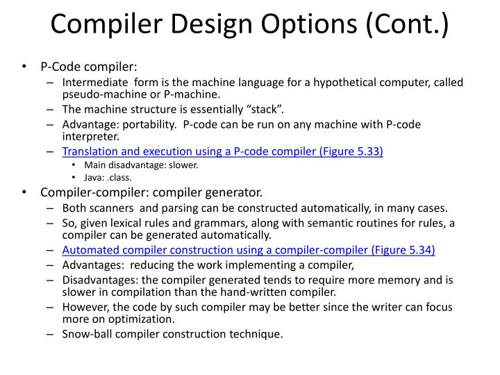 Compiler Design Options (Cont.)