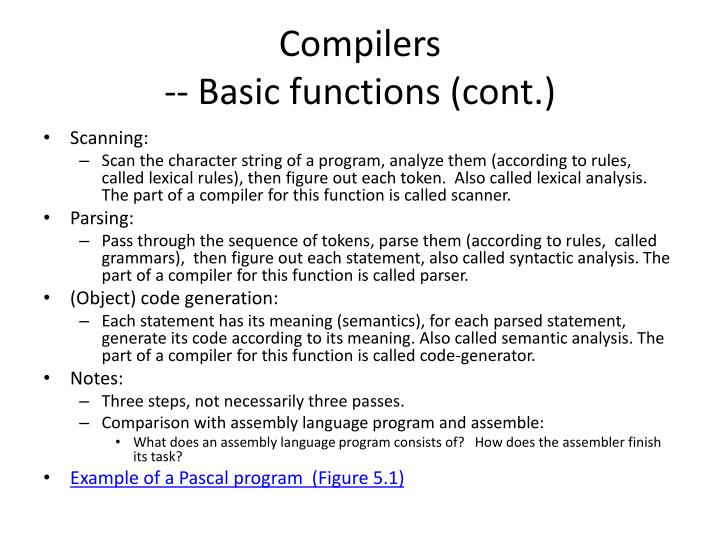 Compilers basic functions cont