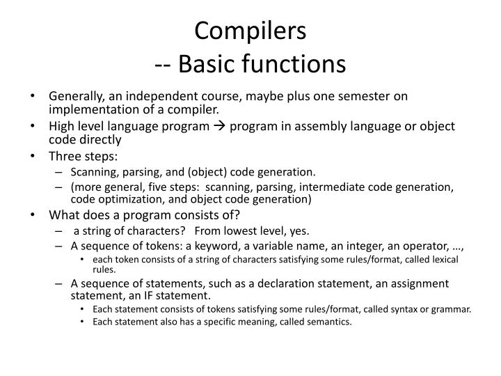 Compilers basic functions