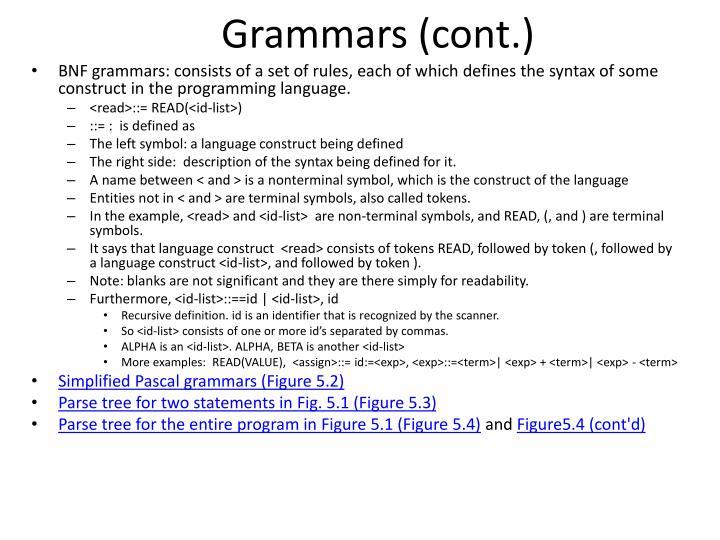 Grammars (cont.)