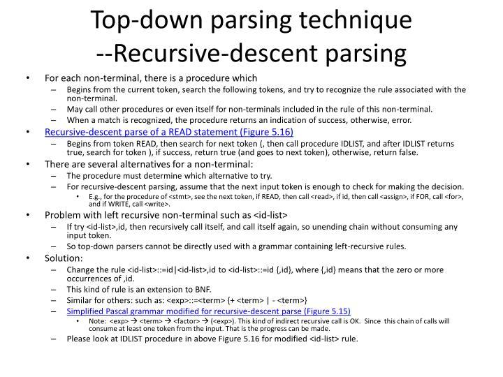 Top-down parsing technique
