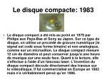 le disque compacte 1983