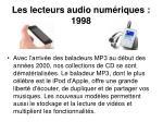 les lecteurs audio num riques 1998
