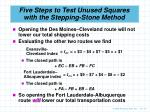 five steps to test unused squares with the stepping stone method10