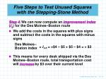 five steps to test unused squares with the stepping stone method7