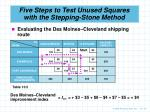 five steps to test unused squares with the stepping stone method9