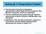 setting up a transportation problem
